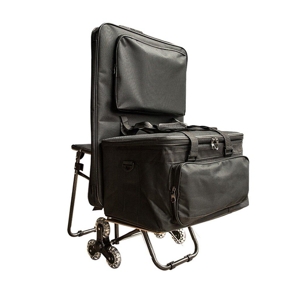 塗装工具カート/多目的塗装車/折りたたみ階段/折りたたみ車/座席塗装袋車付 丈夫で持ち運びやすい (色 : Black)  Black B07FLV6BLW