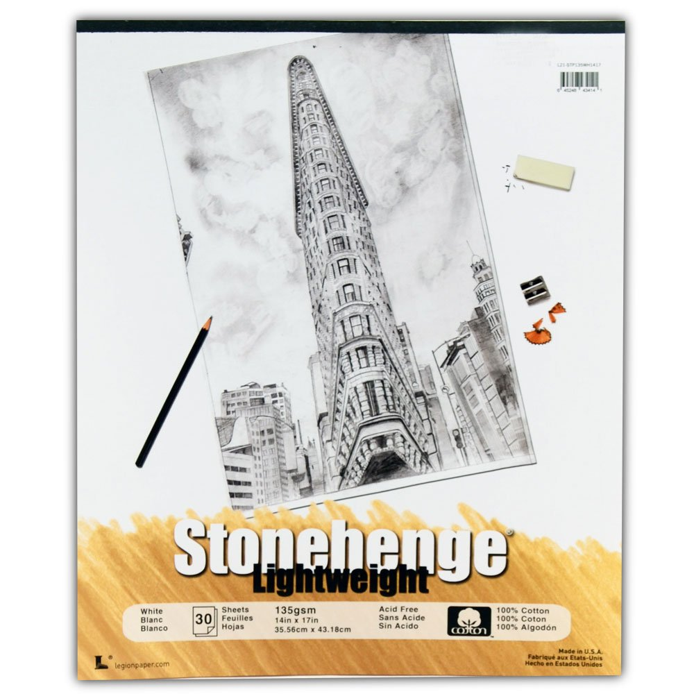 Stonehenge Lightweight Paper White Pad 17x14 Inches by Legion Paper