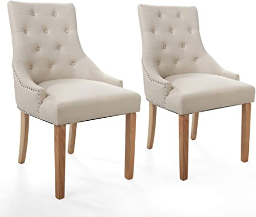 JAXPETY Set of 2 Elegant Fabric Accent Wood Dining Chair