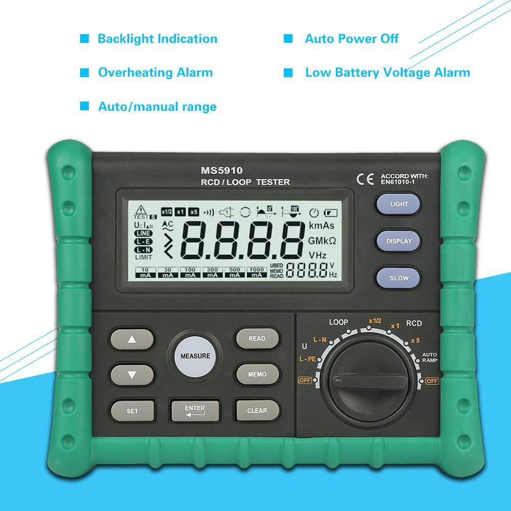 Testeur de boucle Ms5910 D/étecteur de temps courant de d/éclenchement de circuit testeur de r/ésistance rcd//boucle avec outil USB Interface id/éale