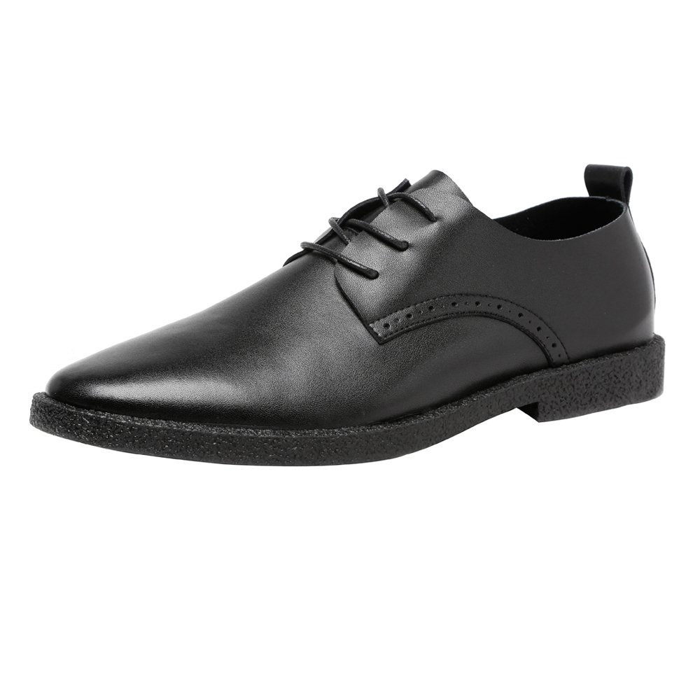 Lederschuhe Herren Freizeitschuhe Matt Echtem Leder Slipper Lace up Breathable Spitz Toe Oxfords Black
