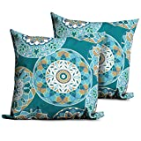 TKC PILLOW-TEALSUND-18×18-2x Pillow-Tealsund-18X18-2X Outdoor Throw Pillows Square Set Of 2, Teal Sundial For Sale