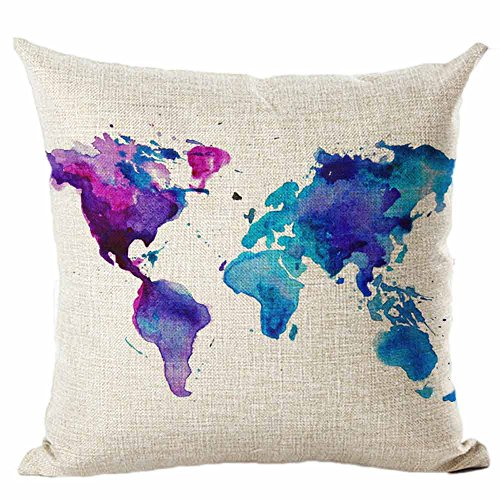 Hot Sales, ZOMUSA Map Of The World Print Linen Cotton Pillow Cases Sofa Cushion Cover Home Decor (E)