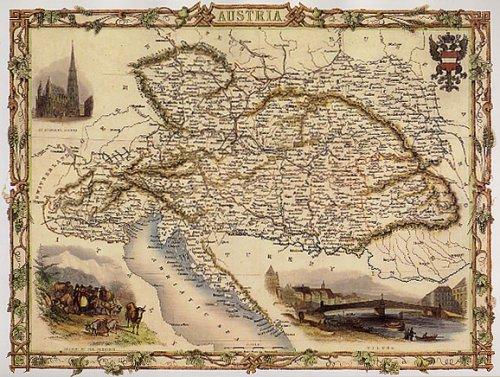 Póster Mapa Catedral de Austria Viena 1800Farm 40,6x 61cm clásico ganadero Wien Río Repro