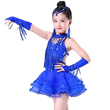 Uioy-Falda de baile niña Trajes de concurso de baile latino ...
