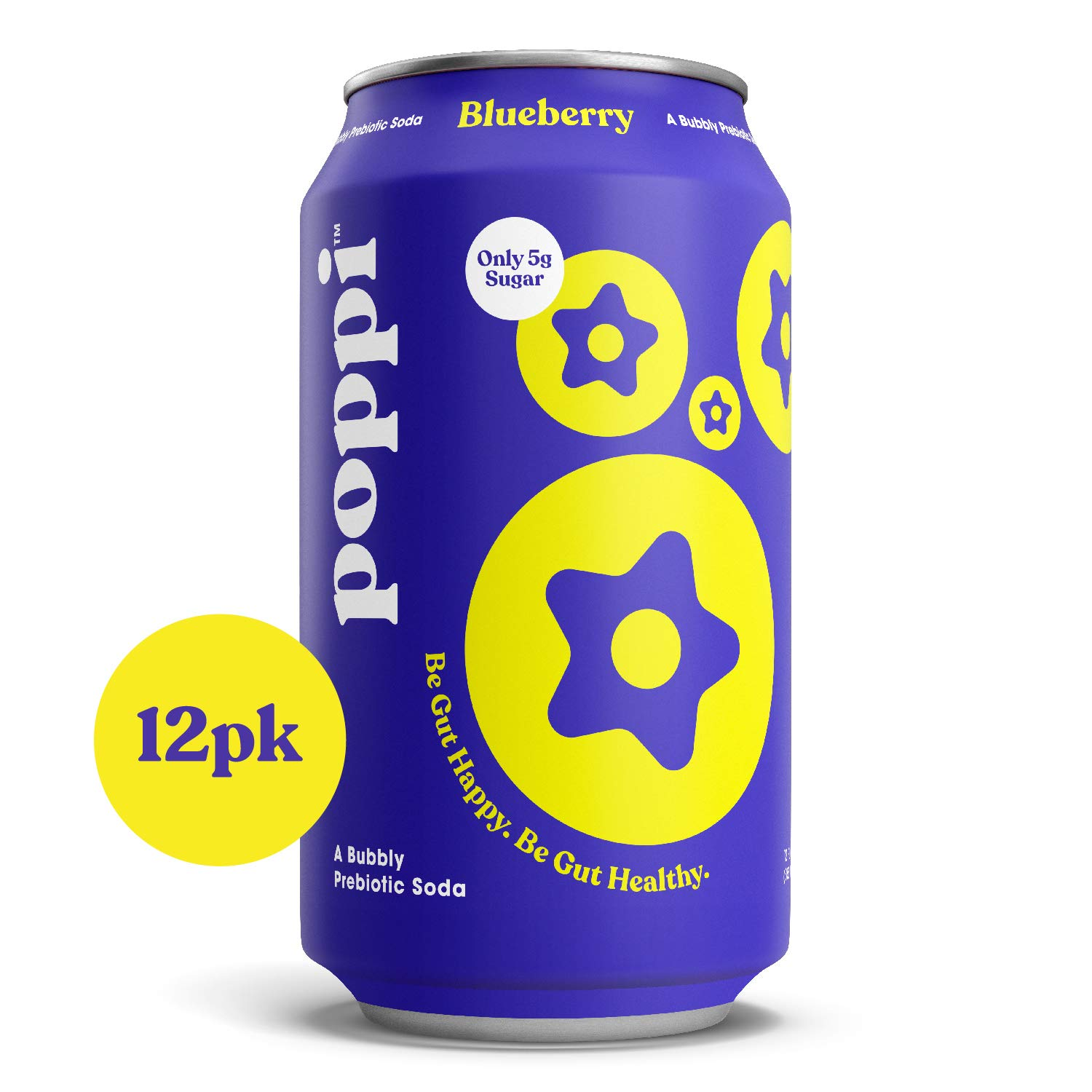 poppi (12 Pack) Prebiotic Soda Infused with Apple Cider Vinegar, Blueberry, 20 calories, 5g Sugar, 12 fl oz Cans