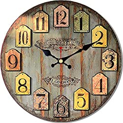 MEISTAR 16 Inch Wall Clock Round Vintage Rustic Country Tuscan Style Wooden Home Decorative Wall Clock Battery Operated