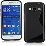 Kit Me Out UK TPU Gel Case + Screen Protector with MicroFibre Cleaning Cloth for Samsung Galaxy Core Prime G360 - Black S Line Wave