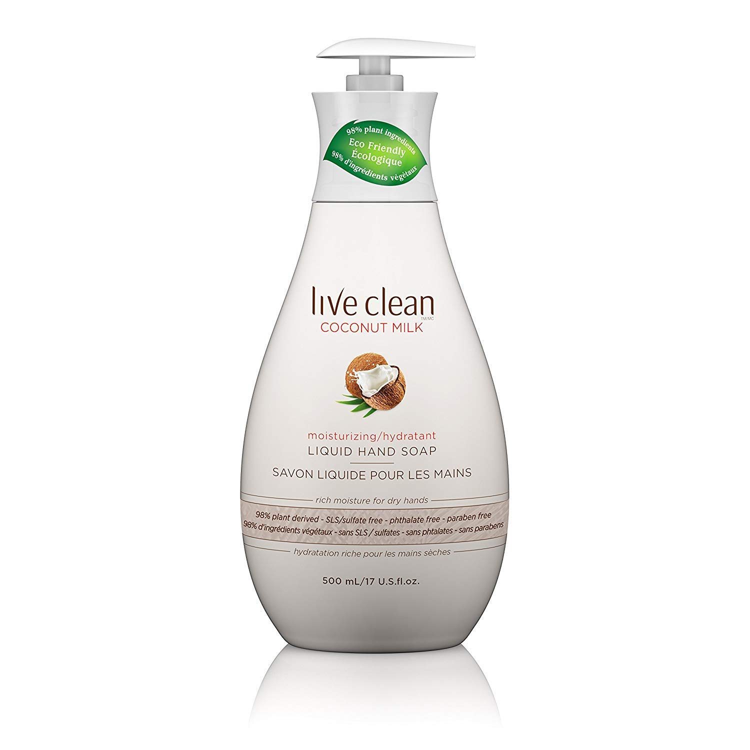 Live Clean Hand Soap Coconut Milk 17 Ounce Pump (502ml) (3 Pack)