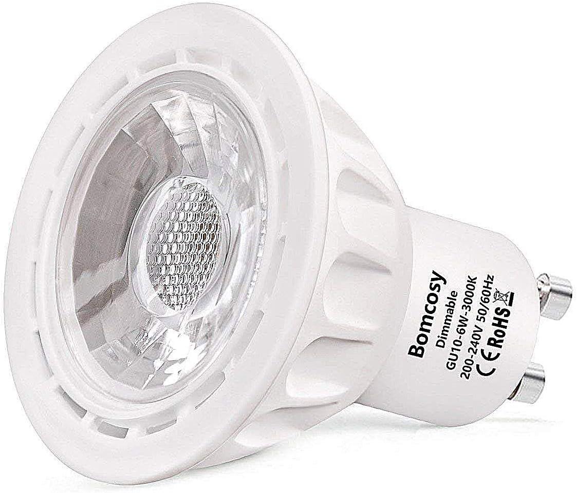 Bomcosy Lampadine LED 6 Watt GU10 Dimmerabile Luce Bianca Calda 3000K 50W Alogene Equivalenti 540LM 35 Gradi Angolo Confezione da 10