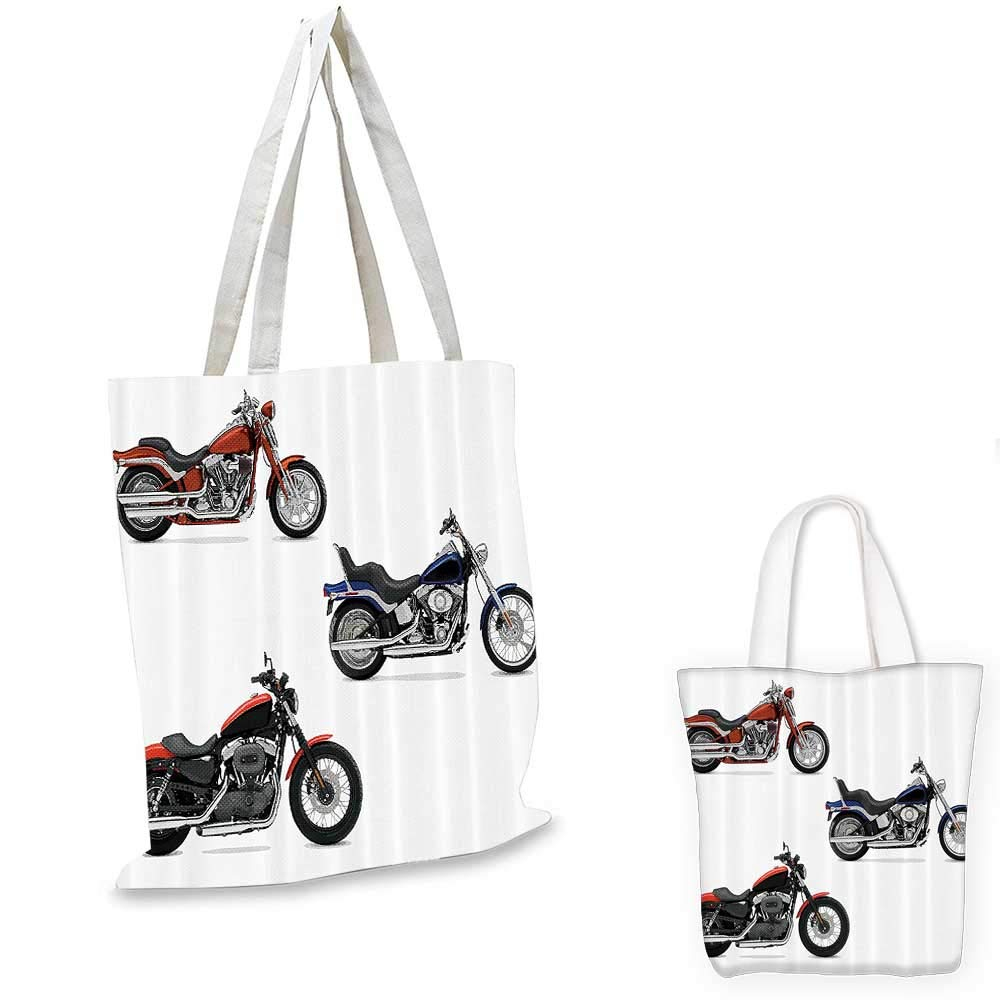 Motorcycle Decor portable shopping bag Illustration Of Three Motorcycles Freedom Transport Risky Extreme Sports Themed shopping bag for women Orange Black 12x14-10