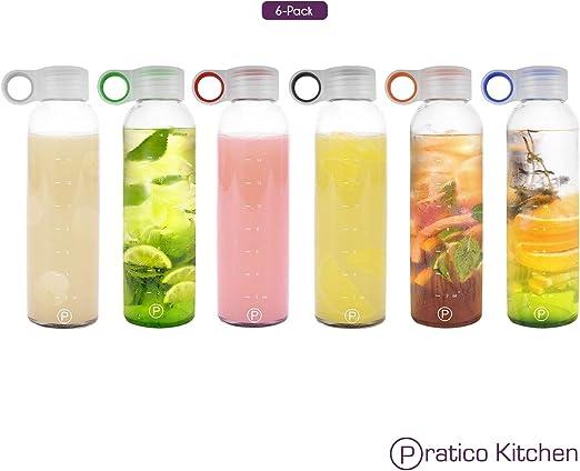 Amazon.com: Botellas de vidrio Pratico Kitchen, de 18 onzas ...