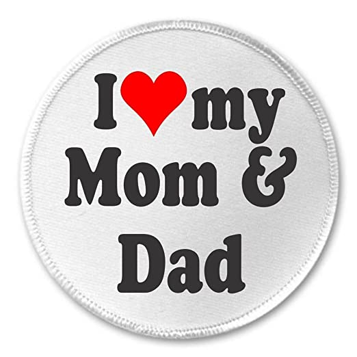 Amazoncom At Designs I Love My Mom Dad 3 Sew On Patch Mother