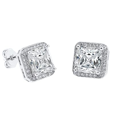 b053f4147 Cate & Chloe Norah 18k White Gold Princess Cut CZ Halo Stud Earrings,  Sparkling Cluster