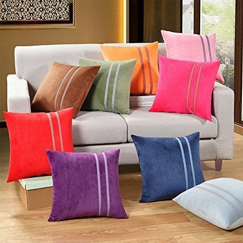 Coliang Standard Size Pillow Case, Pure Crystal Fleece Hold Pillow Case Plain Flannel Pillow Sofa Car Cushion 20x20 Inch 50x50CM - Blue