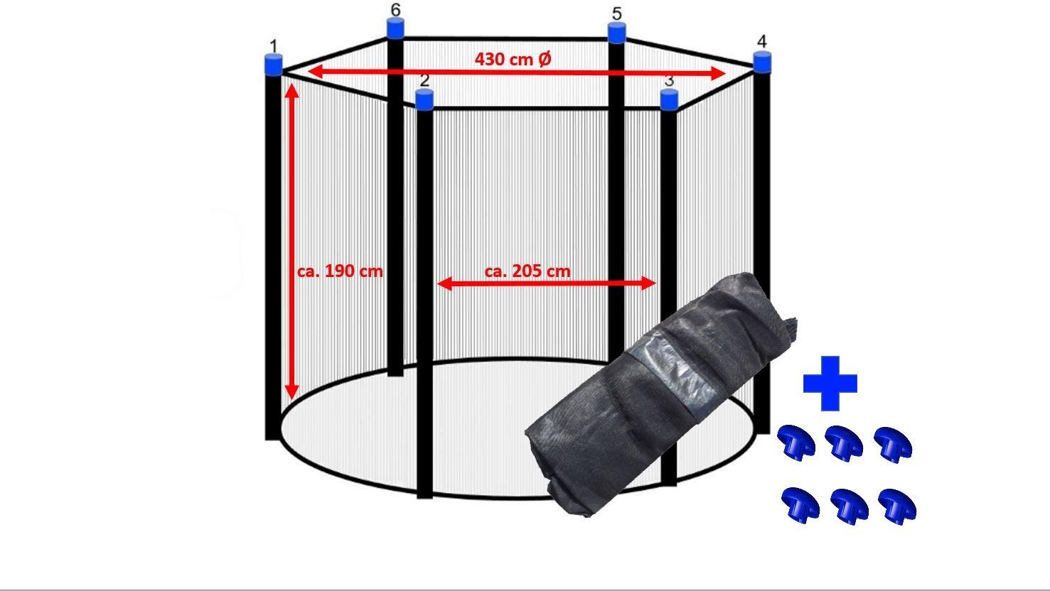 Trampolin Sicherheitsnetz 430 cm Ø für 6 Stangen Ersatznetz Fangnetz