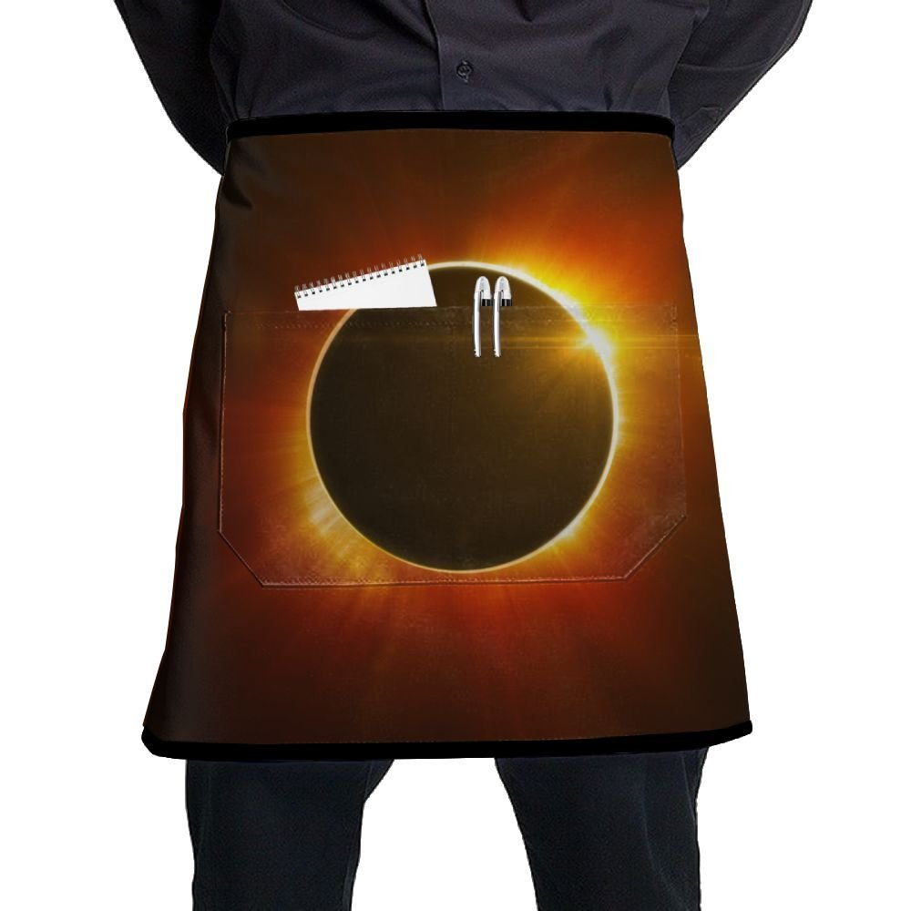 Waist Short Apron Half Chef Apron With Pockets Solar Eclipse Sun Home Kitchen Cooking Pinafore For Bistro Restaurant Cafe Pub BBQ Grill