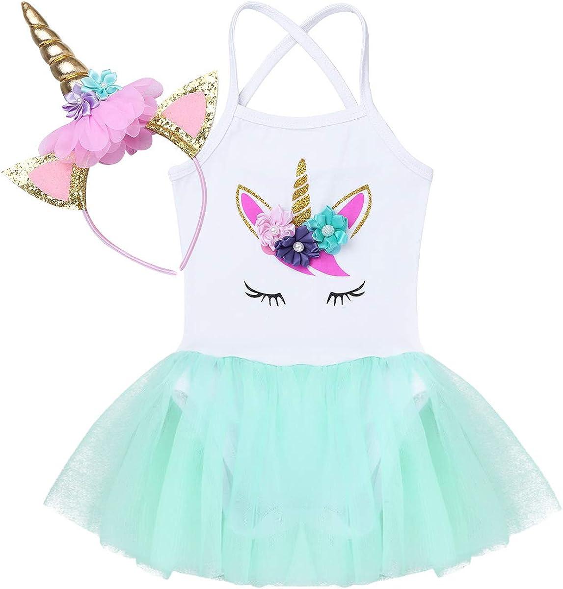 iiniim Vestido Unicornio Princesa para Bebe Niña Diadema Tutú Disfraz Unicornio Traje de Fiesta Cumpleaños Ceremonia Actuación Maillot con Falda Tutu 6-24 Meses