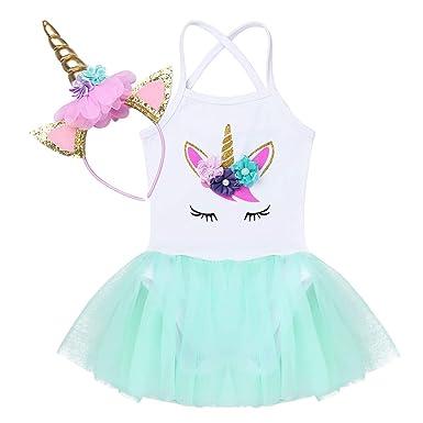 iiniim Vestido Unicornio Princesa para Bebe Niña Diadema Tutú Disfraz Unicornio Traje de Fiesta Cumpleaños Ceremonia Actuación Maillot con Falda Tutu ...