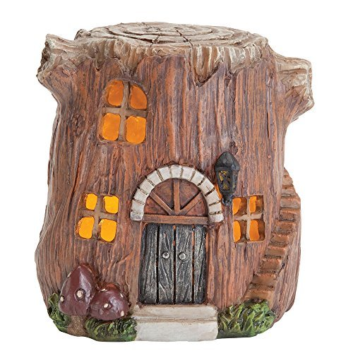 Bits and Pieces - Small Hand Painted Polyresin Garden Fairy House With Lights - Create Your Own Woodland Fairy Village