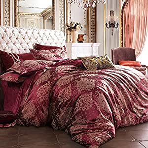 Velvet satin Jacquard four set of European Palace warm in autumn and winter the wind double bed suite,Queen,I