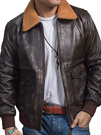 e58f4c46e420e3 A2 Navy G1 Flight Distressed Brown Genuine Leather Aviator Bomber Jacket at  Amazon Men s Clothing store