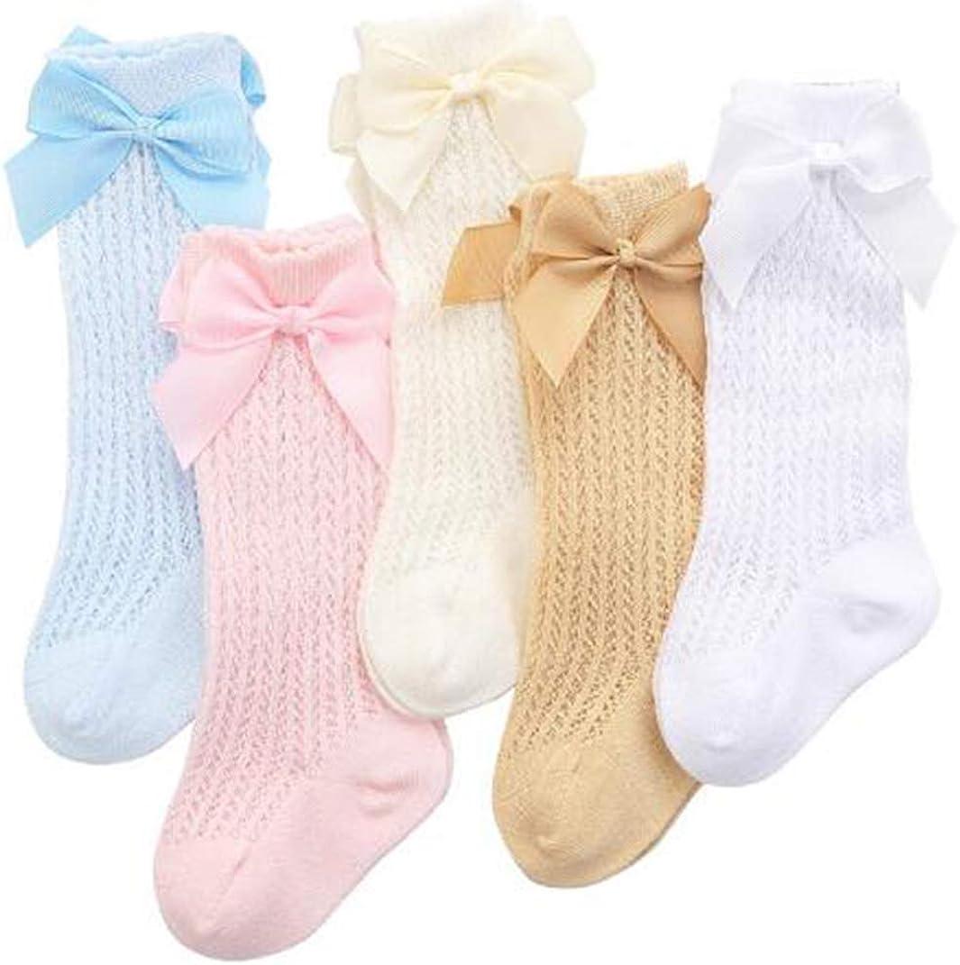 JXUFUFOO 5 Pairs Spanish Knee High Socks Baby Girls Newborn Socks Stockings Cotton