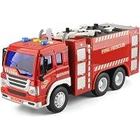 TOYABI Camión de Ingeniería Fricción con Luces & Sonidos Coche Juguete para Niños (Camión de Bomberos)