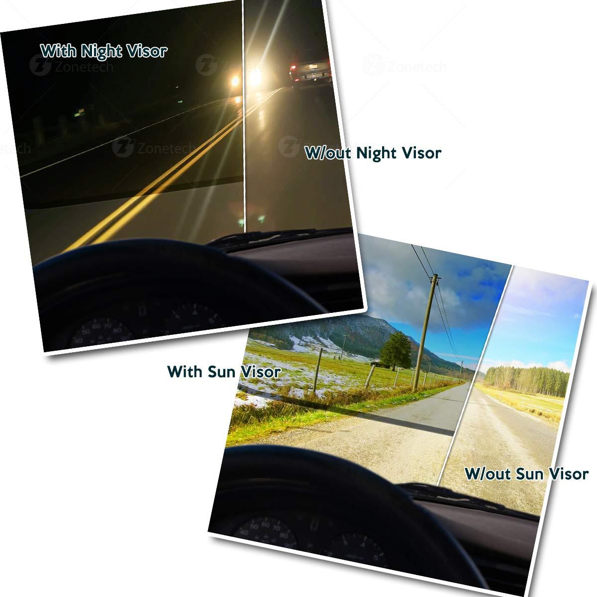 Car Windshield Tac Sun Visor Day and Night Anti-Glare - Zone Tech Premium  Quality Universal Sunshade and Night Vision Anti-Dazzle Windshield Driving