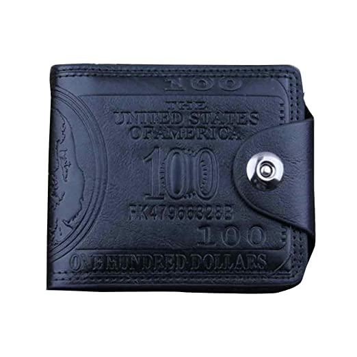 Man Wallet Small Leather Wallets Fashion Purse Black for Gentlemen by TOPUNDER Q