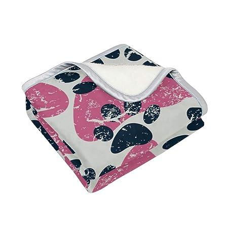 TIZORAX - Manta Suave y cálida para Gato, diseño de Huellas de Perro, Color Negro y Rosa, para Viajes, Camping, sofá, Cama de 90x60 Pulgadas: Amazon.es: ...