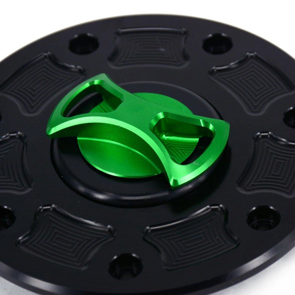 CNC Aluminum Billet Keyless Twist off Gas Fuel Tank Cap For KAWASAKI ZX6R ZX10R ZX14 Z1000 ER6N Z750 Concours Green Black