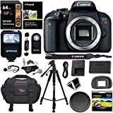 Canon EOS REBEL T7i Camera Body, Lexar 64GB Memory Card, Polaroid Tripod, Ritz Gear SLR Camera Bag, Polaroid UV Filter, Flash and Accessory Bundle