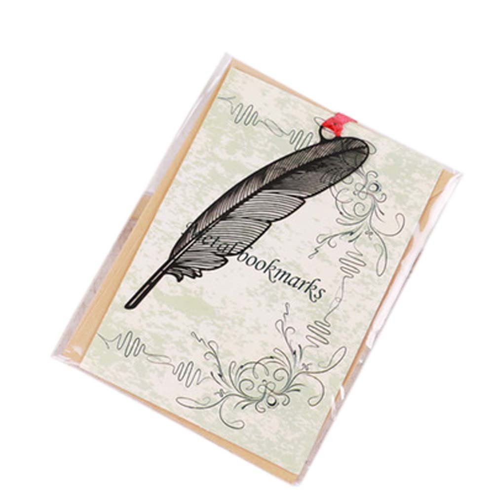 3 Pcs Hollowed-out Black Metal Bookmark Classical Chinese Style Retro Bookmarks Gift, Feather