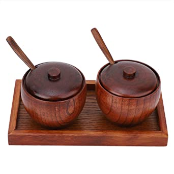Wood Sugar Bowl Kitchen Seasoning Pot Storage Coffee Condiment Container