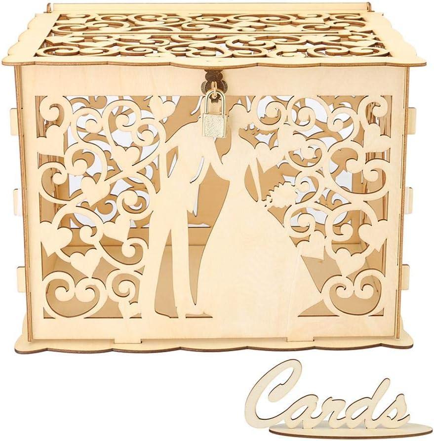 Caja de madera hueca para tarjetas de boda con cerradura y cartón, caja de regalo para bodas, recepciones, cumpleaños, graduaciones, baby showers, decoración 300x240x225mm/11.81x9.45x8.86in JM01368