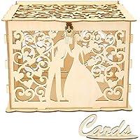 Caja de madera hueca para tarjetas de boda