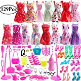 #8: Outee 129 Pcs Barbie Doll Clothes Set Barbie Clothes Pack Barbie Clothes and Accessories Include Fashion Barbie Doll Cloths Doll Shoes Jewelry Necklace Earrings Birthday Party Gifts for Girls Kids