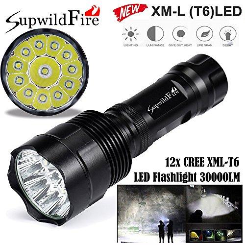 PENATE 5 Modes Tactical Flashlight Super Bright Hard Light Handlamp Torch 30000 Lumens 12 x XML T6 LED Hard Light Portable Tactical Flashlight by PENATE