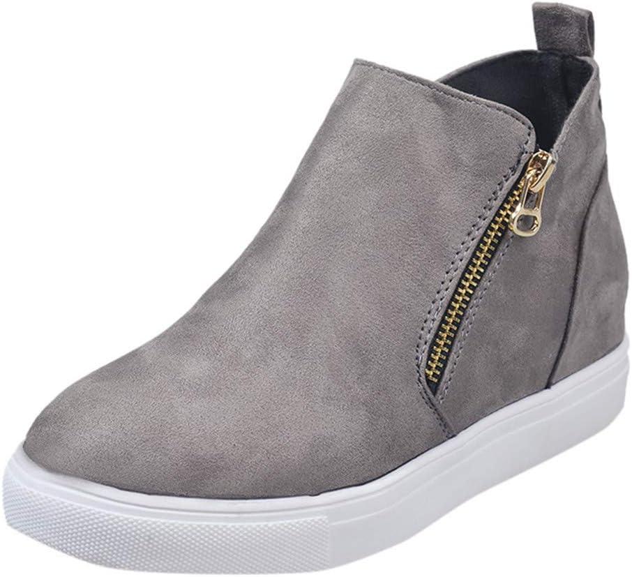 ღLILICATღ Botas Plano de Mujer con Cremallera, Botines Zapatos clásicos de Martain de Invierno de otoño Sneakers: Amazon.es: Jardín