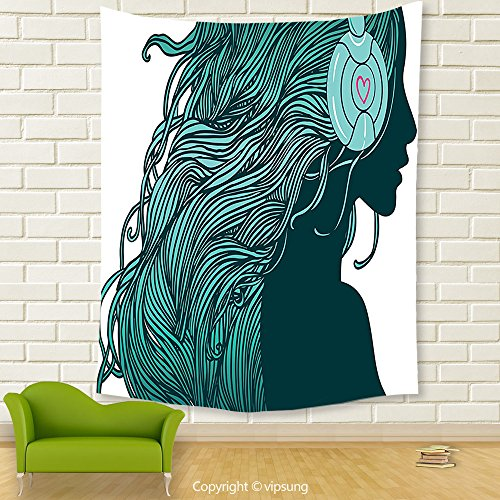 Vipsung House Decor Tapestry_Music Decor Collection Dj Girl Profile With Long Hair In Headphones Nightclub Silhouettes Party Picture Teal White_Wall Hanging For Bedroom Living Room (Halloween Party Clubs In Dc)