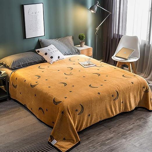 Sábanas encimeras Franela, Sábana de algodón Invierno Cálido Manta Hombre y Mujer Estudiantes Dormitorio Felpa Sábana Bajera 1 pc-Amarillo A 120x200cm(47x79inch): Amazon.es: Hogar