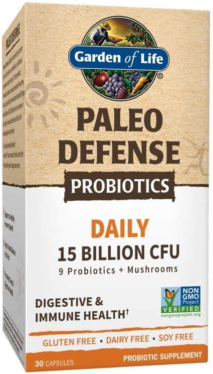 Garden of Life Paleo Defense Probiotics Daily 15 Billion CFU, 30 Capsules - 9 Paleo Probiotics & Mushrooms, Digestive & Immune Health Probiotic Supplement, Non-GMO, Gluten Free, Dairy & Soy Free