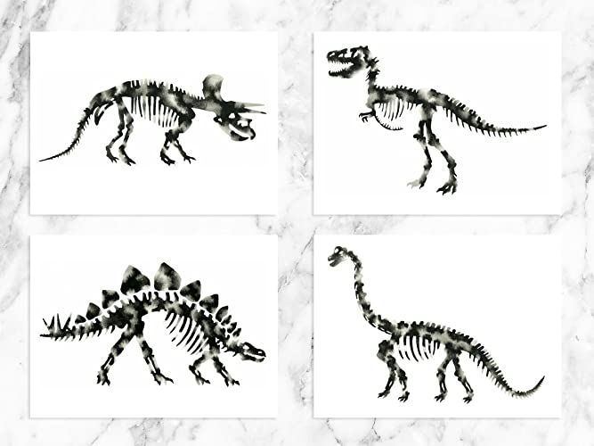 Dinosaur art prints black white dinosaurs set of four trex brontosaurus stegosaurus triceratops