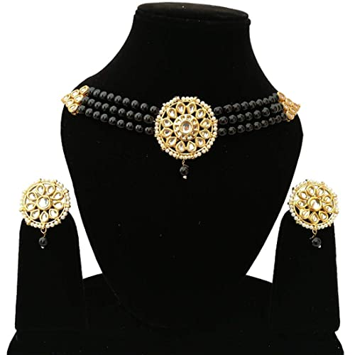 29dc7b4cef7357 Image Unavailable. Image not available for. Color: Retailbees Finekraft  Meena Kundan Indian Bridal Wedding Designer Gold Plated Pearls Choker  Necklace ...