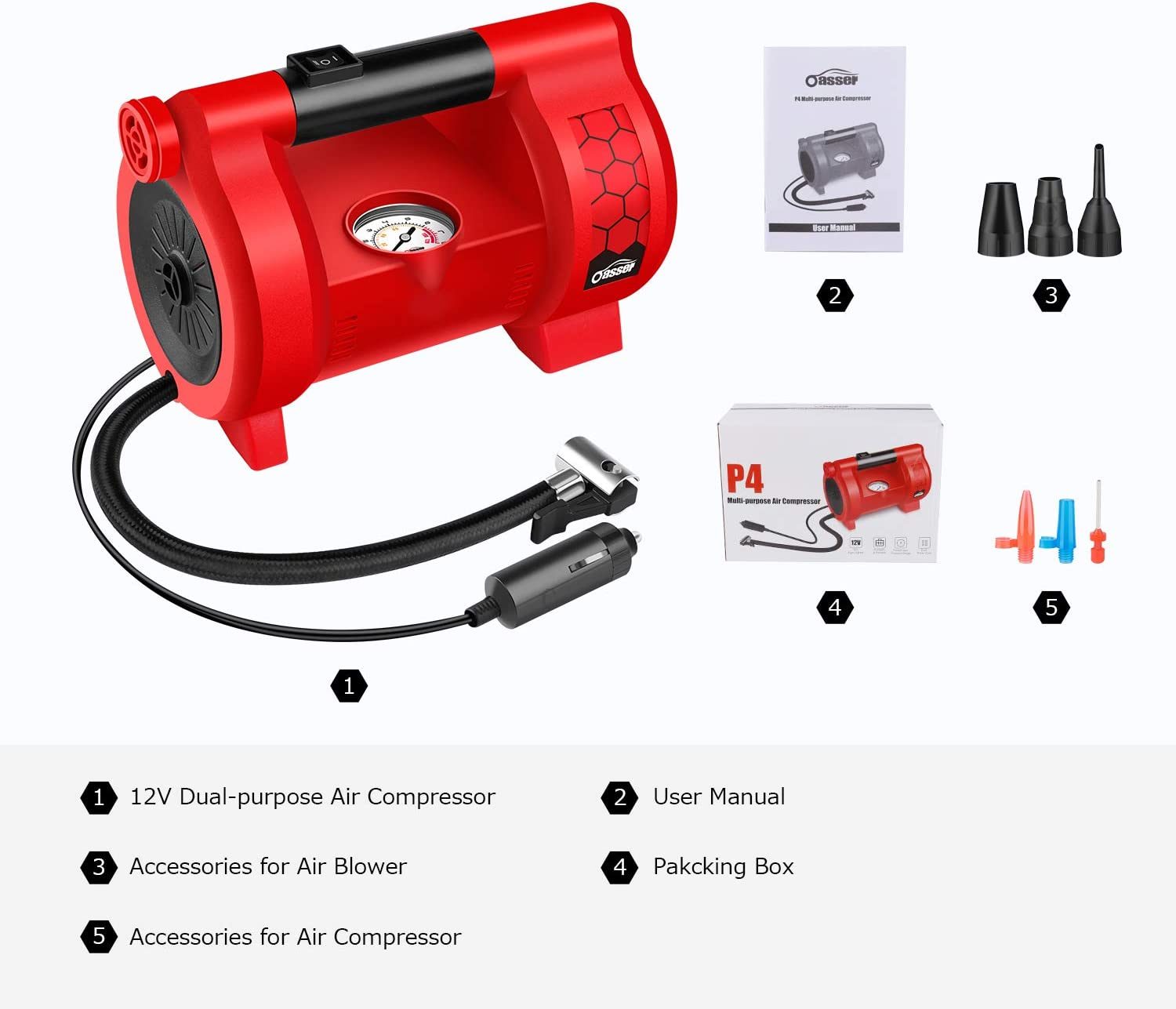 Oasser Air Compressor Tire Inflator Multi-purpose Air Inflator with 6 Nozzles for Cars Bicycles Motorcycles Wheelchairs Air Mattress Toys and Other Inflatables 12V DC 120PSI P4