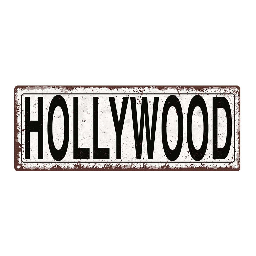Outdoor Hollywood 6''x16'' Metal Sign, Rustic, California, Movies, Guaranteed Not to Fade for 4 Years
