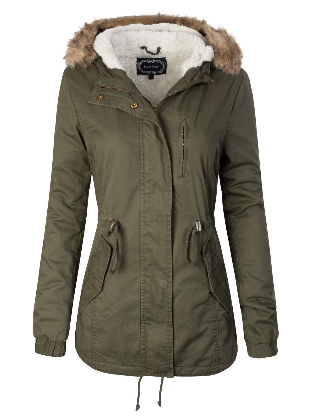 Instar Mode Women's Faux Fur Hoodie Sherpa Lined Military Safari Utility Fashion Jacket Olive L