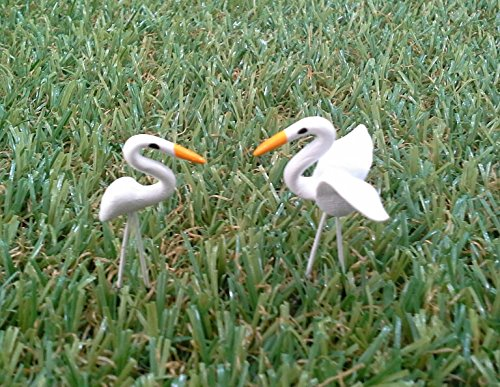 Mini Handmade White Bird for Fairy Mini Garden (2 Pcs)