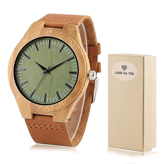 Creativo Reloj de Madera de bambú, para Hombre, con Esfera Verde y Reloj de Madera: Amazon.es: Relojes